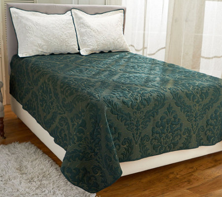 """As Is"" Dennis Basso Micro Mink FL/QN Christmas Coverlet"