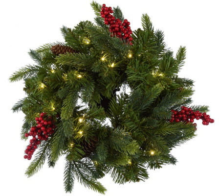 "Bethlehem Lights Set of 2 14"" Miniature Green Wreaths w/Microlights"