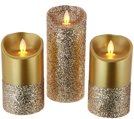 Candle Impressions Mirage Gold S/3 Pearlized Glitter Pillars