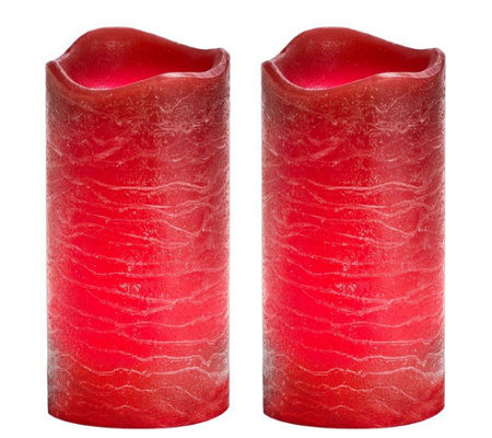 "Candle Impressions S/2, 6"" Rustic Flameless P illar Candles"