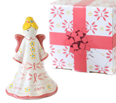 Temp-tations Pink Ribbon Angel Bell with Gift Box