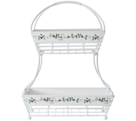 Pfaltzgraff Winterberry Two-Tier Flat-Back Bask et