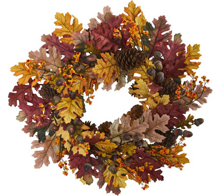 "24"" Oak Leaf, Acorn & Pine Wreath by Nearly Natural"