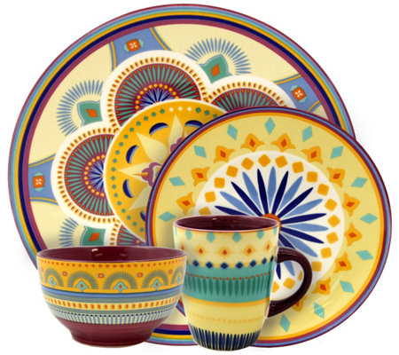 Elama Puesta De Sol 16-Piece Service for 4 Dinnerware Set