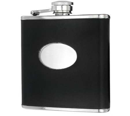 6 oz Black Stainless Steel Faux Leather Hip Flask