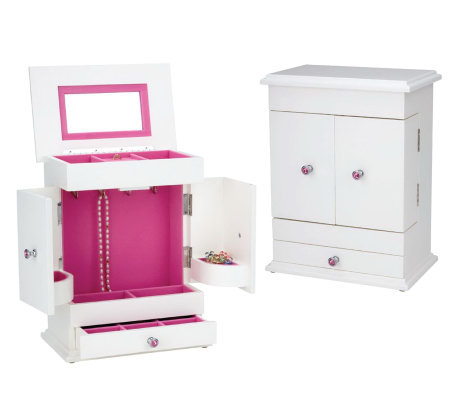 Reed & Barton Bella Jewelry Chest White/Hot Pink