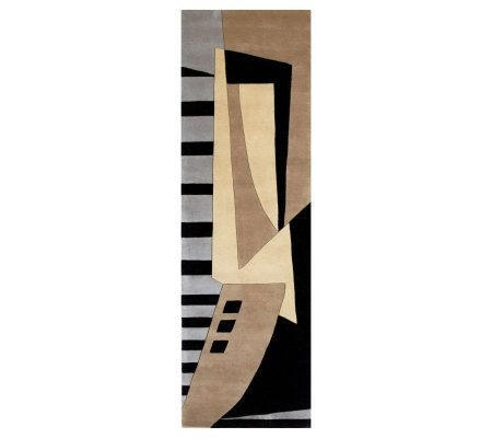 "Momeni New Wave Abstract 2'6"" x 12' Handmade Wool Runner"