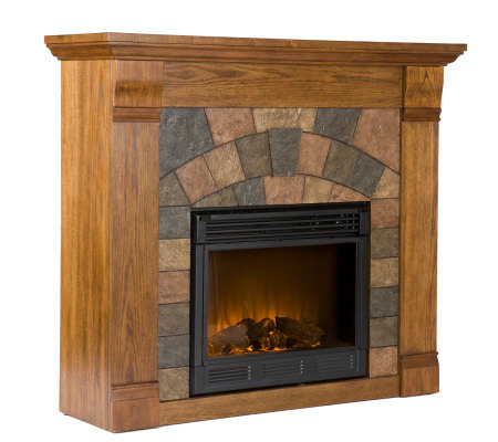 Bennett Antiqued Oak-Finish Electric Fireplace