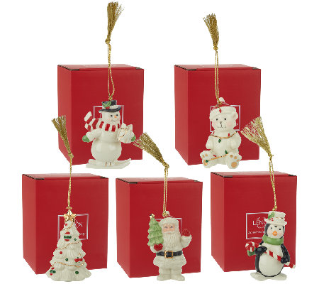 Lenox Set of 5 Porcelain Ornaments with 24K Gold Accents & Boxes