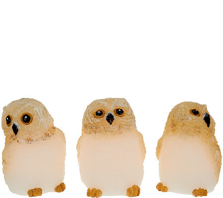 Set of 3 Candle Impressions Flameless Mini Owls