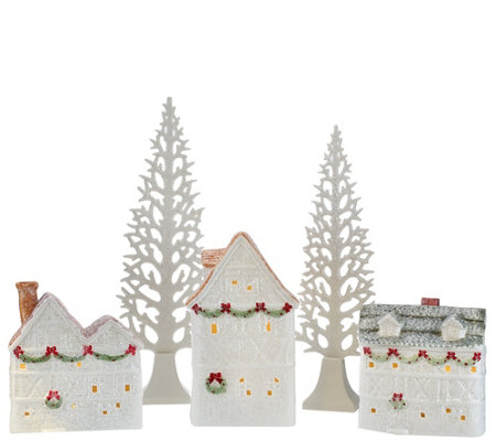 5-piece Illuminated Glittered Ceramic Village by Valerie