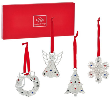 Lenox S/4 Silver-Plated Mini Holiday Ornaments with Gift Box