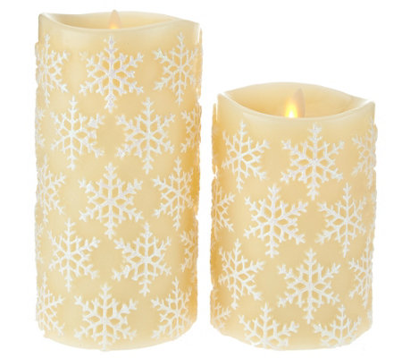 "Luminara 5"" and 7"" Snowflake Embossed Flameless Candles"
