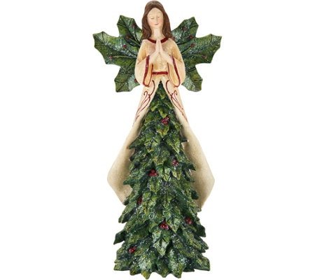 """As Is"" 13"" Angel with Holly Leaves on Skirt by Valerie"