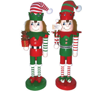 "S/2 14"" Elves at Work Nutcrackers by Santa's Workshop - H289546"
