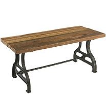 Plow & Hearth Reclaimed Wood Bench with Iron Base, Birmingham - H291446