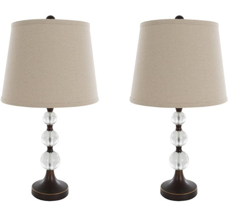 Lavish Home Table Lamps Set of 2, Crystal Ballswith Bronze