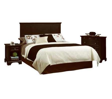 Home Styles Bedford Black Queen Headboard, Nightstand, & Ches