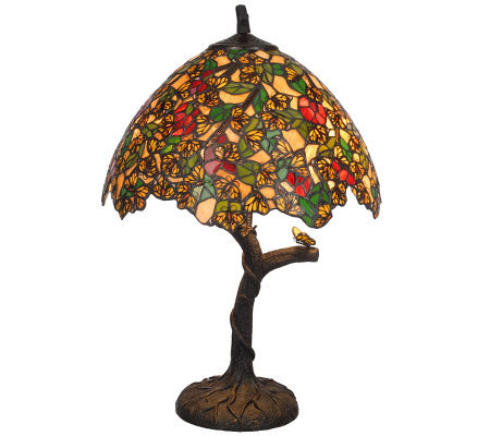 Handcrafted Tiffany Style Monarch Butterfly Tree 24 Quot Table