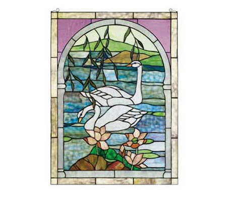 Meyda Tiffany Style Swans Window Panel