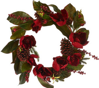 "18"" Glittered Magnolia, Pinecone, & Berry Wreath - H206647"
