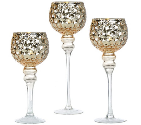 Set of 3 Illuminated Honeycomb Footed Goblets by Valerie