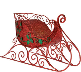 "Kringle Express Illuminated 14"" Glittered Decorative Metal Sleigh - H208547"