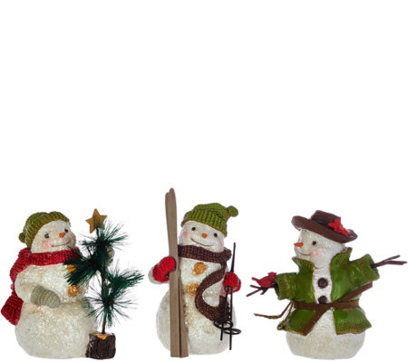 "Hallmark Set of 3 6"" Snowmen Figurines with Gift Box"