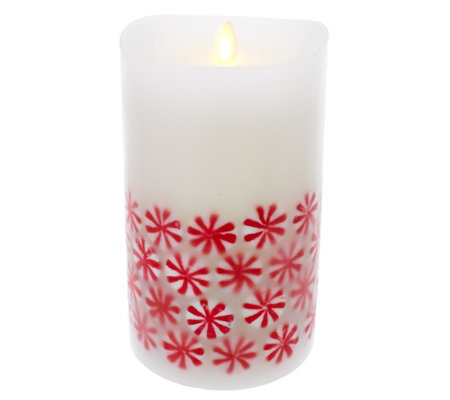 "Luminara 7"" 360 Embedded Peppermint Candy Flameless Candle"