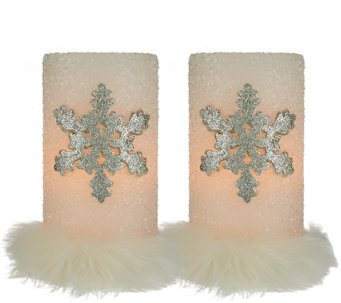 """As Is"" Dennis Basso Set of 2 Snowflake Flameless Candles w/Fur - H210347"