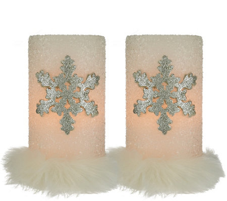 """As Is"" Dennis Basso Set of 2 Snowflake Flameless Candles w/Fur"