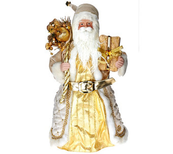 """As Is"" Dennis Basso 16' Elegant Stand or Sit Santa Figure - H210447"