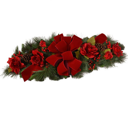 Red Rose Holiday Centerpiece by Valerie