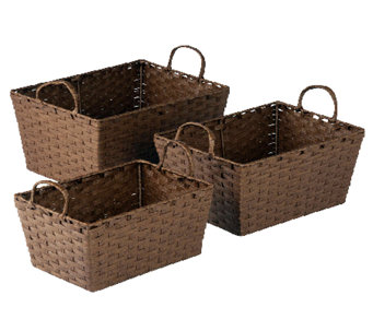 Honey-Can-Do 3-pc Paper Rope Basket Set - Brown - H282747