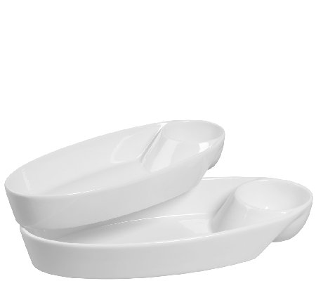 "Denmark Tools for Cooks S/2 13-1/2"" Oval Chip &Dip Bowls"