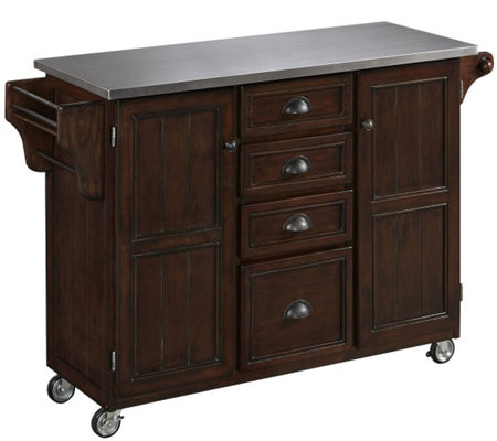 Home Styles Traditional Kitchen Cart with Stainless Steel Top