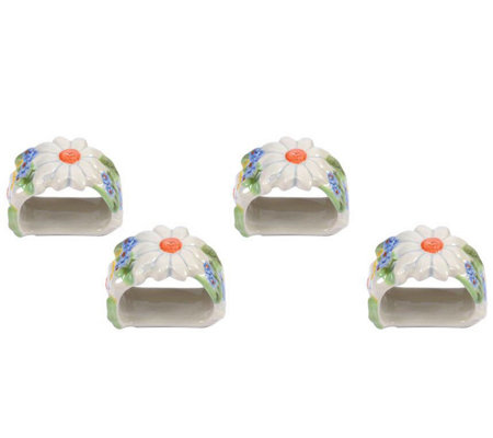 Temp-tations Figural Floral Set of 4 Napkin Rings