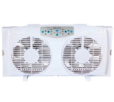 "Optimus 8"" Reversible Twin Window Fan with Thermostat"