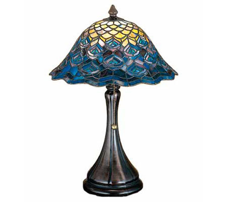 Tiffany Style Peacock Feather Accent Lamp