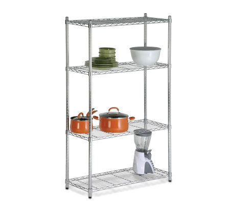 Honey-Can-Do Four-Tier Chrome Storage Shelves -200 lbs