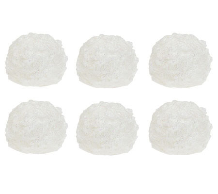 Set of 6 Flameless Snowballs with Timer by Valerie