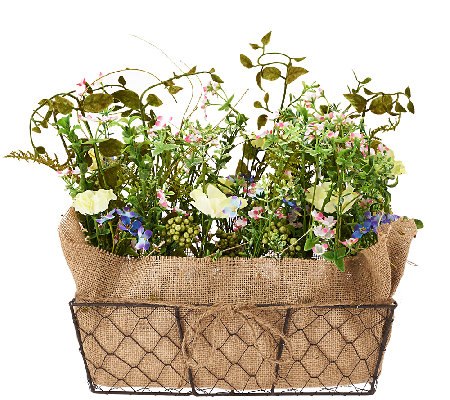 Forget-Me-Not and Violet Floral Basket by Valerie
