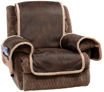 Sure Fit Reversible Faux Leather/ Sherpa Recliner Furniture Cover - H206048