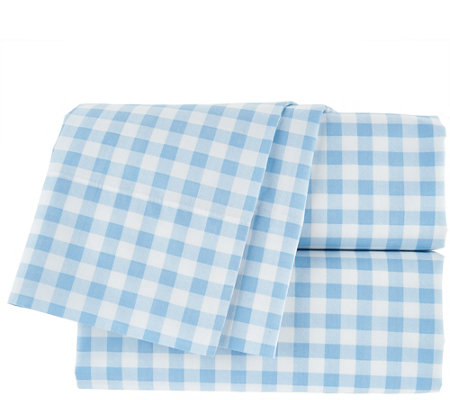 Isaac Mizrahi Live! Home 100% Cotton Gingham Queen Sheet Set