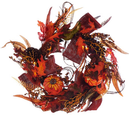 "Plow and Hearth Illuminated 24"" Fall Wreath with Timer"