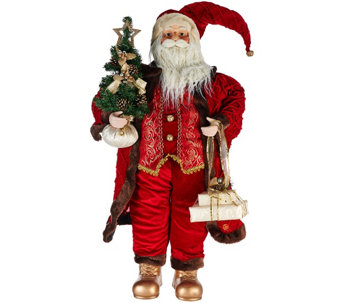 """As Is"" Dennis Basso 36"" Traditional Old World Oversize Santa Figure - H210348"
