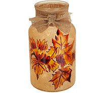 Plow and Hearth Illuminated Glass Vase with Floral Harvest Design - H211648