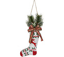 "Plow & Hearth 16"" Vintage Stocking with Lit Holiday Greens - H213048"