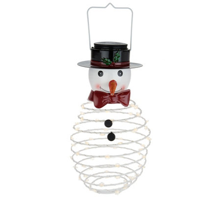 Plow & Hearth Indoor/Outdoor LED Swirl Springy Holiday Lantern