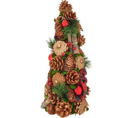 """As Is"" 15.5"" Woodland Plaid Cone Tree by Valerie"